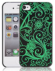 iPhone 4 Case - Fluorescent Candy Glow Back Cover for iPhone 4 4s, Berry Nice Black