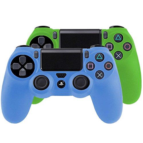 Bundle - 2x Funda Cubierta de silicona para PlayStation 4 / PS4 Dualshock 4 Controller Controlador Mandos, azul + verde
