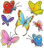 """3 * 7 tlg. Set _ Fensterbilder - """" Schmetterlinge """" - statisch haftend - selbstklebend + wiederverwendbar / Sticker Fenstersticker Aufkleber - Fensterbilder - z.B. für Fenster und Spiegel / Fliesen - Fensterdeko Fensterfolie Kinderzimmer Deko - Schmetterling / bunte Tiere"""