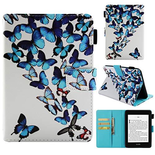Hülle für Kindle Paperwhite 2018 10th Generation Case Leder Tasche Schutzhülle Flip Cover Einschlaf/Aufwach Abdeckung Klapphülle Ständer Karten Fächer Magnetverschluss - Schmetterlinge -