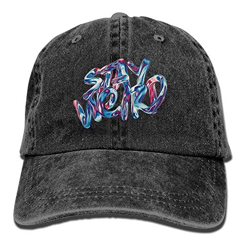 Erdnuss Herr Kostüm - Zhgrong Caps Stay Weird Letters Unisex Fashion Denim Bucket Hat Warm Popular Visor Hats Cool Adjustable Dad Cap Mens Kappen