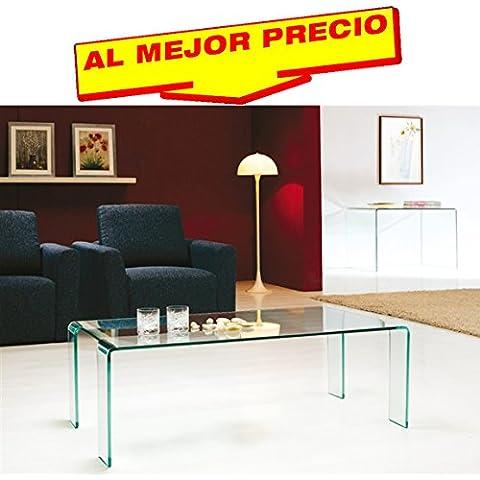 MESA DE CENTRO BAJA RECTANGULAR ÍNTEGRAMENTE EN CRISTAL CURVADO, 120x60 CMS DISEÑO MODERNO MODELO VILNA- OFERTAS HOGAR -¡AL MEJOR PRECIO!