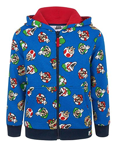Super Mario Characters Boy's Zip Up Hoodie (9 (Kostüm Mario Super Toad)