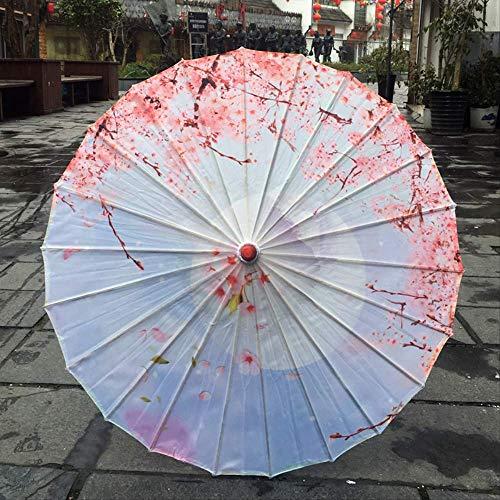 TVKL Paraguas de Seda para Mujer, Paraguas de Seda con Flores de Cerezo japonés, Paraguas Decorativo Estilo Chino, Paraguas de Papel de Aceite, Color Chocolate