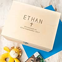 Personalised Baby Boys Christening Gift for godson - Keepsake Box / Wooden Memory Box - (Choose Your Middle Symbol + Boys and Girls Designs Available!)