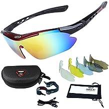 Occhiali da Sole Sportivi,Sincewe Anti-UV 400 Protezione Ciclismo Occhiali da Sole con 5 Lenti Intercambiabili,Uomo e Donna Antivento Aviatore Specchio per MTB,Bici,Moto,Trekking Casual-Nero