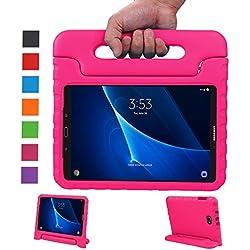 LEADSTAR Samsung Galaxy Tab A 10.1 EVA Etui Poignée Stand Étui Enfants Housse Antichoc Protecteur Kids Coque Anti-Chocs pour Samsung Galaxy Tab A 10.1-pouces SM-T580 SM-T585(Rose)