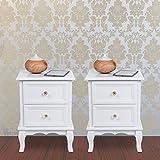Songmics 2 Mesitas de noche Mueble de dormitorio con 2 cajones 38,5 x 30,5 x 52,5 cm Color blanco RDN012