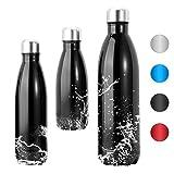 VGEBY1 Bottiglia di Acqua in Acciaio Inox, Tazza di Bottiglia di Isolamento di Vuoto Anti-Perdita di Grande capacità per Il Campeggio in Bicicletta Sport Mantiene Calda e Fredda(350ML-nero)