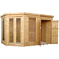 WALTONS EST. 1878 11x7 Wooden Corner Summerhouse with Side Shed, Shiplap Construction - Dip Treated. Includes Double Doors, Flat Roof, Floor & Roof Felt & Styrene Safety Windows (11 x 7 / 11Ft x 7Ft)
