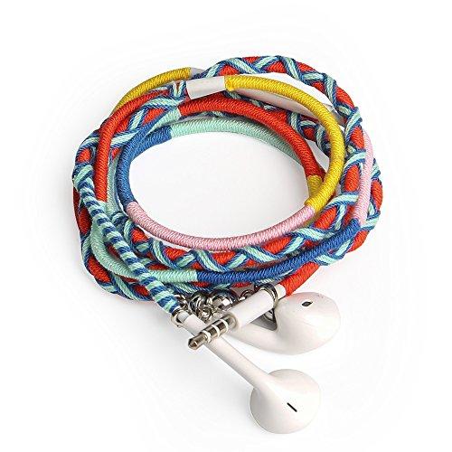URIZONS In Ear Kopfhörer, In-Ear Stereo Ohrhörer mit Mikrofon und Remote Handgefertigte Stoff geflochtene Tribe Thread Wrapped Armband Style