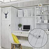 LoveFaye Selbstklebende Aufkleber in Holzmaserung-Design, Weiß, nordischer Stil, zum Überkleben von Regalen, Spinden, 45cm x 298cm