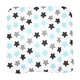 TupTam Baby Wickeltischauflage mit Baumwollbezug Gemustert, Farbe: Sterne Blau/Schwarz, Größe: 70 x 70 cm