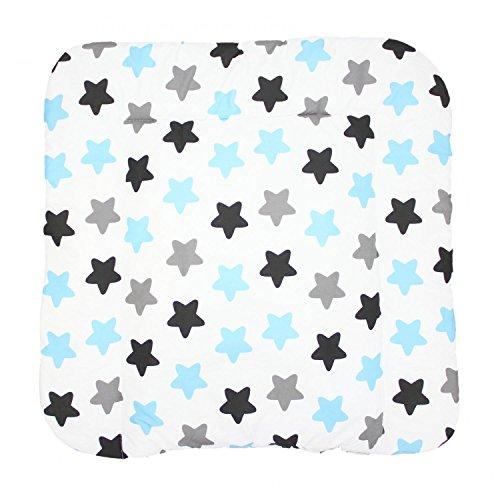 TupTam Baby Wickeltischauflage mit Baumwollbezug Gemustert, Farbe: Sterne Blau/Schwarz, Größe: 75 x 85 cm