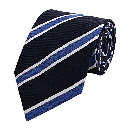 Blau Gestreiften Krawatte (Edle Fabio Farini Krawatte, 8 cm in verschiedenen Farben, Blau-Weiß-Schwarz gestreift)