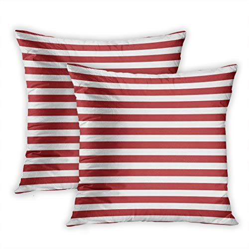 Nekkzi Cushion Covers Set of Two Print Colorful Abstract Marine Striped Red Navy Celebration Color Day Digital Drawn Sofa Home Decorative Throw Pillow Cover 16x16 Inch Pillowcase Hidden Zipper - Old Navy Striped-shorts