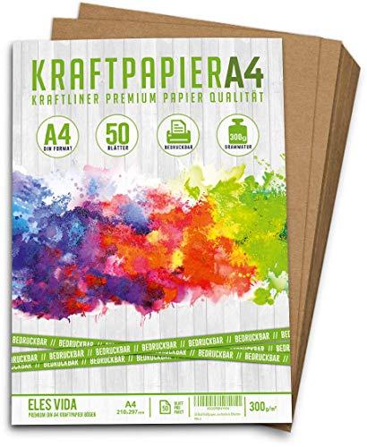 50 Blatt Kraftpapier A4-300 g - 21 x 29,7 cm - EXAKTES DIN Format - Bastelpapier & Naturkarton Pappe Blätter aus Kraftkarton zum Basteln für Kartonpapier Vintage Hochzeit Geschenke & Etiketten