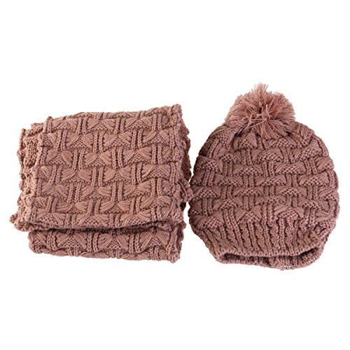 Pixnor Femme hiver tricot épaissir chapeau bonnet et écharpe définie Comme le montre