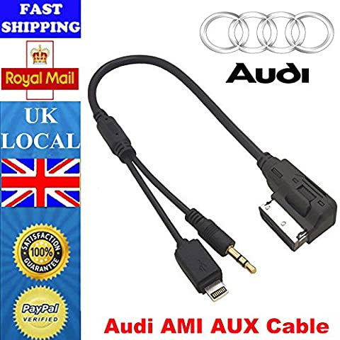 O2+ AMI MDI MMI Car Cable Audio MP3 music interface Lightning Adapter for Apple Devices such as iPhone 5, 6 & etc. for Audi & Volkswagen