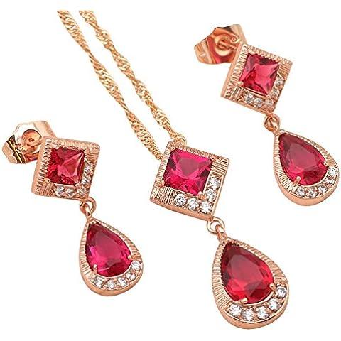 Bling fashion Glamour matrimonio per le donne rosa zirconi oro giallo 18K Placcato Collana Set Collana Orecchini Rubino