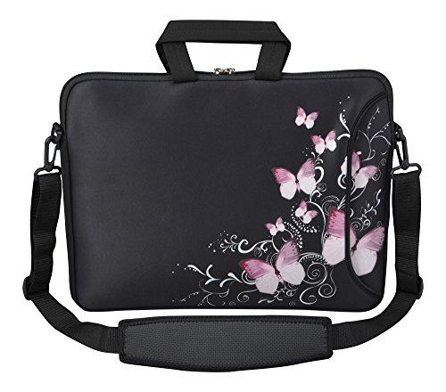 Mysleevedesign borsa porta notebook e laptop - custodia in neoprene con tracolla 15,6 pollici / 17,3 pollici - diverse fantasie - butterfly black [17]
