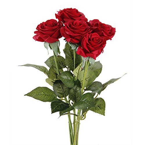 tininna-5-pezzi-rose-artificiali-rose-mazzi-per-la-festa-decorazioni-domestiche-o-wedding-rosso