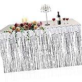 Metallic Fringe Foil Table Rock Tinsel Tabelle Vorhang für Luau Party-Geburtstags-Sommer-Jahrestag Weihnachten Tischdekoration Sunlera - 2