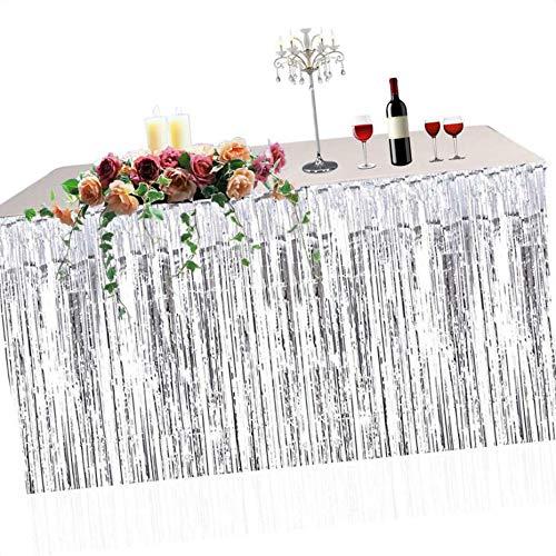 Demino Metallic Fringe Foil Table Rock Tinsel Tabelle Vorhang für Luau Party-Geburtstags-Sommer-Jahrestag Weihnachten Tischdekoration Silber- 74 * 274cm (Silber-metallic Tisch Rock)