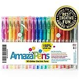 AmazaPens Gelstifte, 20er-Pack Super-Glitzereffekt | 150% mehr Tinte als andere Sets | Damit verleihen Sie Ihren Malbüchern und Kunstprojekten echten Glitzerglanz.