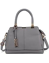 Sally Young Women Handbag Leather Briefcase Shoulder Bag Tote Purse Ladies Messenger Satchel - Black