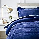 AmazonBasics Micromink Sherpa Comforter Set - Twin, Navy