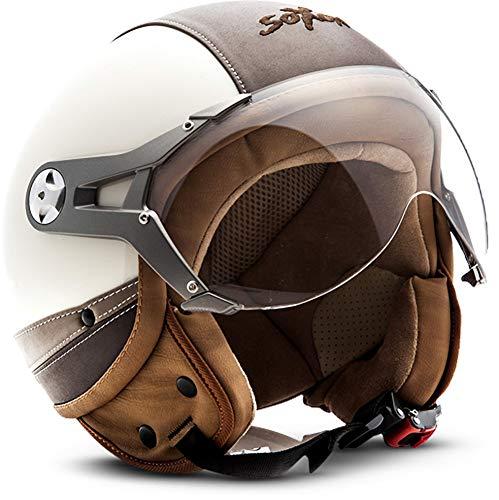SOXON SP-325-URBAN Creme · Vintage Scooter-Helm Biker Motorrad-Helm Jet-Helm Bobber Mofa Helmet Pilot Cruiser Roller-Helm Vespa-Helm Retro Chopper · ECE zertifiziert · Leder Design · mit Visier · inkl. Stofftragetasche · Beige · S (55-56cm)
