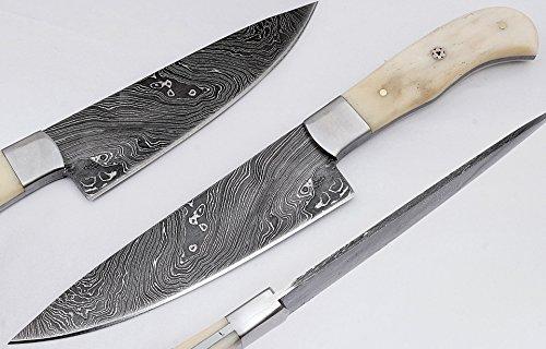 Chef knife kitchen knife handmade Damascus steel blade overall length 26.75 cm 1674