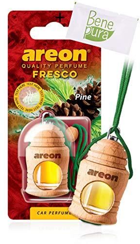 Areon - Deodorante per auto da 4ml, fresco profumo di pino, con diffusori da appendere e copertura in legno naturale, a lunga durat