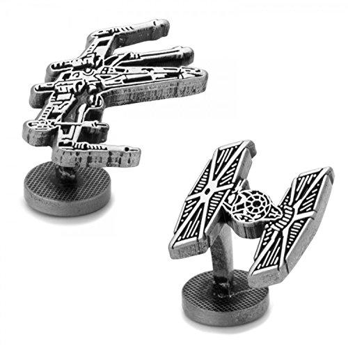 Boutons de manchette Inc X-Wing et Tie Fighter Bataille Livrée Boutons de manchette (Argent)