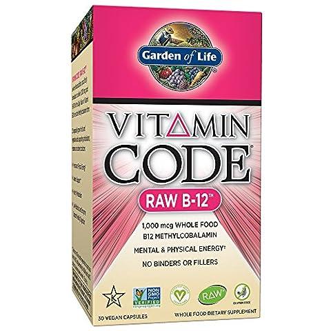 Garden of Life Vegan Vitamin B12 1000 mcg - Vitamin Code Raw B12 Whole Food Supplement, 30 Capsules
