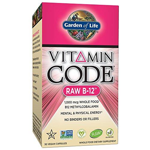 Jardín de vida-Vitamina B121000mcg-Raw de código de vitamina B12Whole Food Supplement, 30Cápsulas