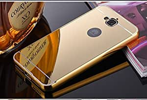 Honor 2 Plus Case, Ziaon Luxury Metal Bumper Acrylic Mirror Back Cover Case For Huawei Honor Holly 2 Plus - Gold Plated
