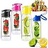 Laptone botella infusora de fruta 800ML botella agua jugo infusor ideal para Yoga, Gym, al aire libre, niños, oficina - Seguridad a Prueba de Fugas - sin BPA