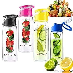 Laptone  Fruit Infuser BPA Free Water Bottle - 800 ml, Black