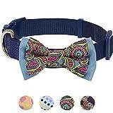 Blueberry Pet Paisley Druck Handgefertigte Fliege Hundehalsband in Marineblau, S