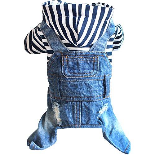 Sild Coole Vintage Washed Denim Jacke Jumpsuit Blau Jean Kleidung für kleine Haustiere Hund Katze/3Styles (Romper Kostüm Denim)