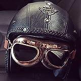 Handgemacht Persönlichkeit PU Leder Retro Harley Offenes Motorradhelm, Abnehmbar Atmungsaktiv Warm...