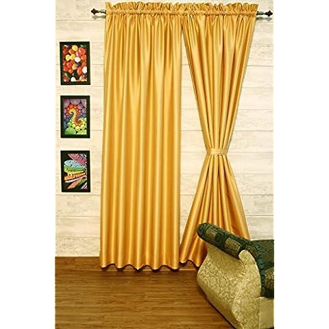 ripe-wheat cortinas satén de seda Dupioni sintética, elección de piezas, anchura y longitud elección con forros opacos por zappycart., 78