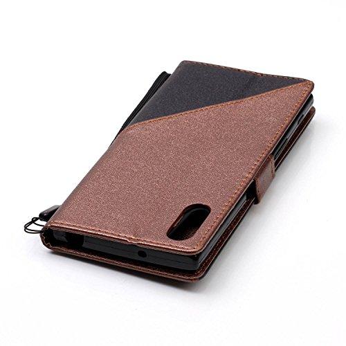 Qiaogle Téléphone Coque - PU Cuir rabat Wallet Housse Case pour Apple iPhone 5 / 5G / 5S / 5SE (4.0 Pouce) - YX31 / Noir + Brun foncé YX31 / Noir + Brun foncé