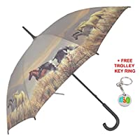 Mens Ladies Band Of Horses Walking Stick Style Brolly Umbrella With Free Trolley Key Ring - Grey