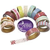 Asian Hobby Crafts Gift Wrapping Paper Tapes Printed, 15mm x 4M (Assorted, ASNHC1853_A) - Pack of 12 Pieces