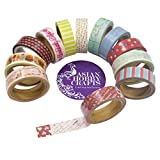 #4: AsianHobbyCrafts Gift Wrapping Paper Tapes Printed (Assorted Design) 15mm x 4mtr (Approx) : Qty: 12pcs