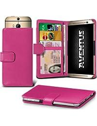 Aventus (Hot Pink) Vodafone Smart Platinum 7 Universal Case Etui Housse Wallet Spring Clamp Premium Pu Cuir Avec Caméra Slide, Titulaire De La Carte De La Fente Et Billets Pocket