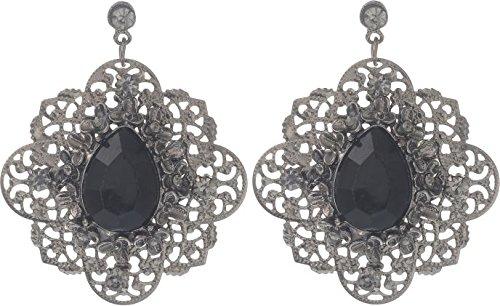 Vintage Pendientes con diamantes grises y con un lágrima formingen piedra–Joyas